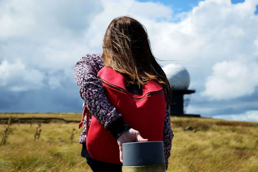 Climbing Clee hill - with Ten Ball Backpack