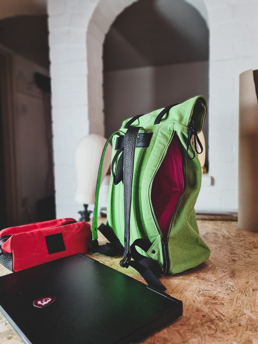 Rear padded laptop section on rolltop backpack 'pickle' from cora and spink backpacks, UK.